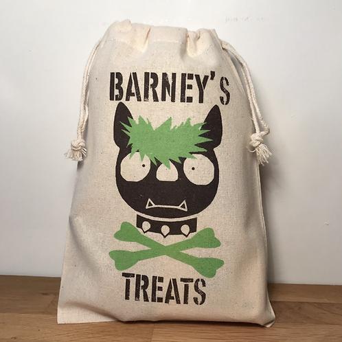 Personalised Punky Pet Treats Bag - DOG (Green Hair/Green Bones)