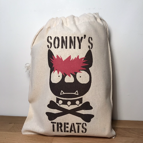 Personalised Punky Pet Treats Bag - DOG (Red Hair/Black Bones)