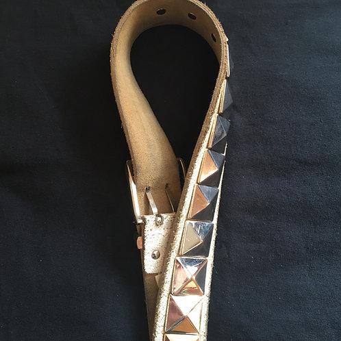 White leather retro studded belt medium to large fit