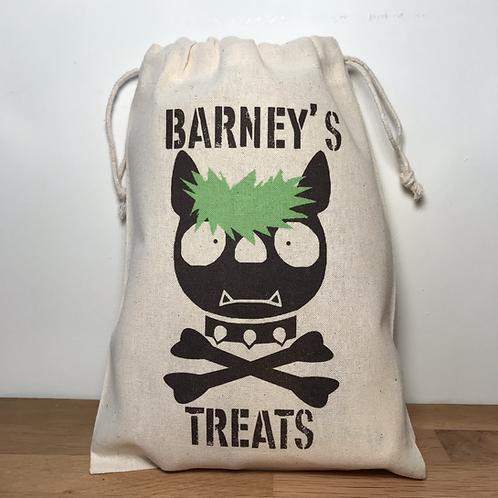 Personalised Punky Pet Treats Bag - DOG (Green Hair/Black Bones)