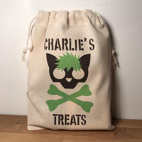 Personalised Punky Pet Treats Bag - CAT (Green Hair/Green Bones)
