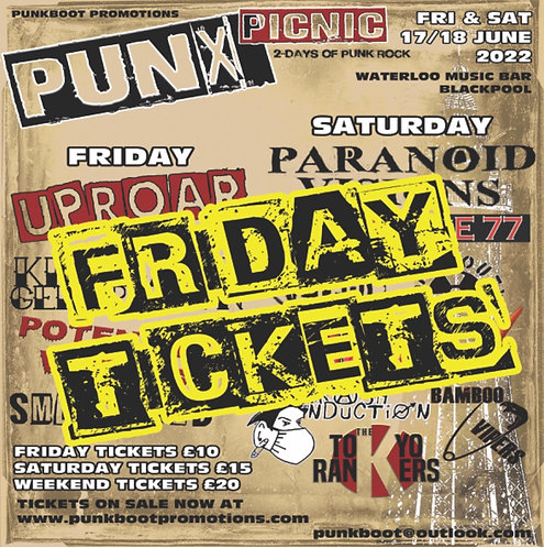 PUNX PICNIC TICKET (Pre Show) Friday 17 June 2022
