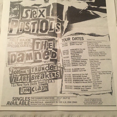 Sex Pistols reproduction poster for Anarchy In The UK tour
