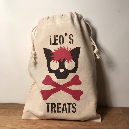 Personalised Punky Pet Treat Bag - CAT (Red Hair/Red Bones)