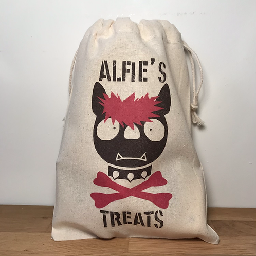 Personalised Punky Pet Treats Bag - DOG (Red Hair/Red Bones)