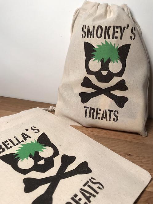 Personalised Punky Pet Treats Bag - CAT (Green Hair/Black Bones)