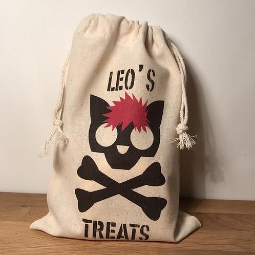 Personalised Punky Pet Treat Bag CAT (Red Hair / Black Bones)