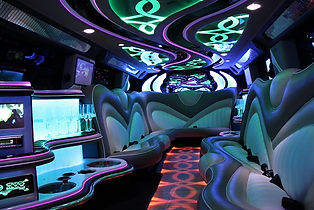 Amazing party interior with led lighting in the H2 Black Hummer hire Perth