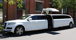 image of the Audi limo outside the East Perth, Graham Farmer Freeway and Royal Street region for wedding photos with bride and groom