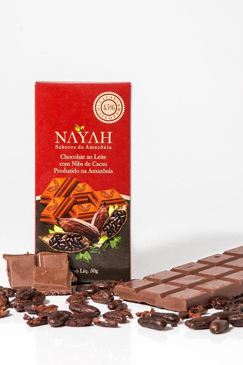 Chocolate Fino ao Leite com Nibs 45% Cacau (50g)