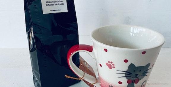 Thé ou infusion avec tasse chat 'pattes rouge'