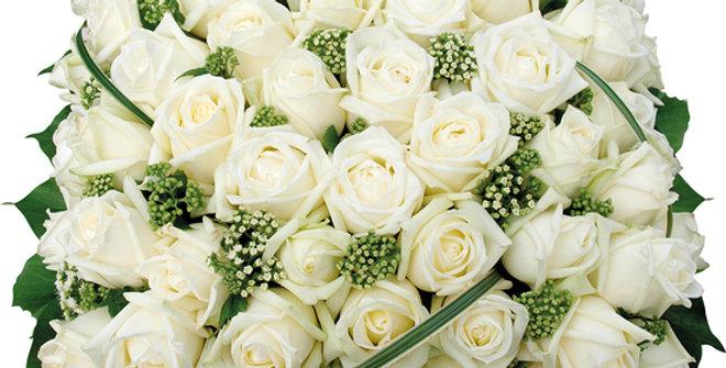 Coussin de deuil rose blanche