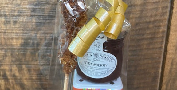 Boîte de thé avec confiture et bâton de sucre Hiboux coloré