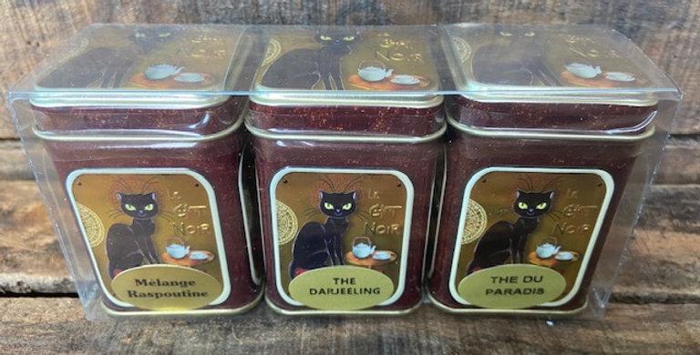 3 boîtes de thé assorti en mélange chat noir