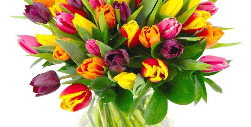 Bouquet de tulipes en mélanges de couleurs avec vase en verre offert