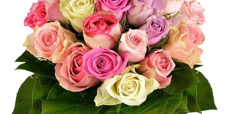 Boule de roses pastel
