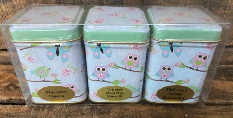 3 boîtes de thé assorti en mélange oiseaux coloré branche