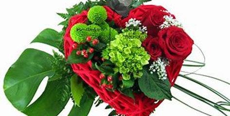 Bouquet coeur ardent rouge