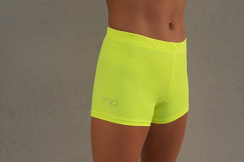 Fluo Yellow Twist Shorts