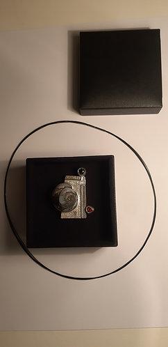 pendentif helix argent et or +moldavite et citrine madère