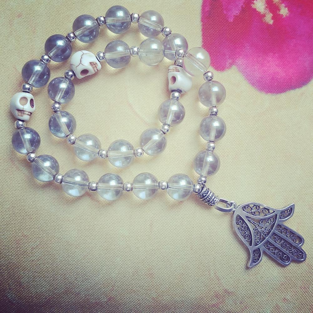 Aqua Aura Mala bead bracelet necklace by Cara Amirah MalaLala (Etsy)