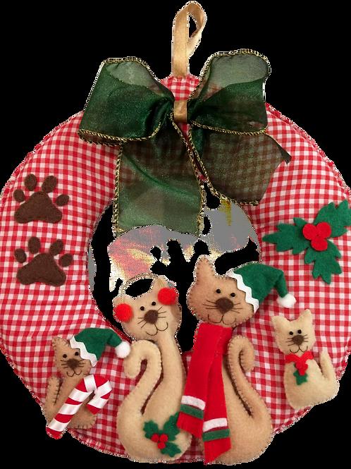 Cat family Christmas wreath