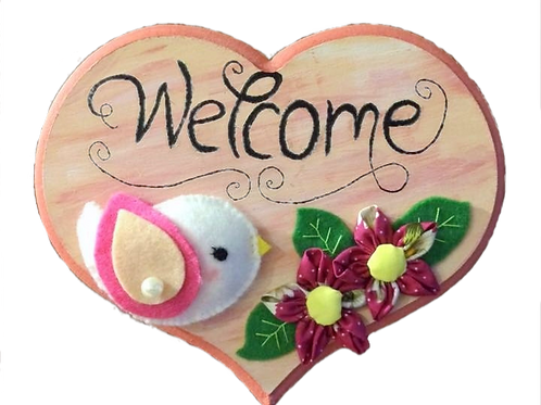 """Welcome"" wooden hanging décor piece"