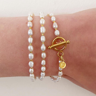 Zoetwaterparel armband & ketting