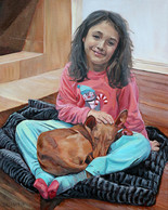 Hand-painted girl and dog oil on canvas