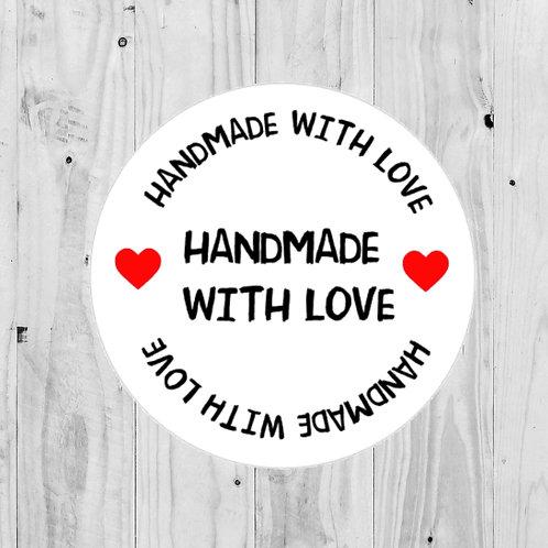 handmade with love, handmade stickers, handmade, round stickers, love stickers, made with love