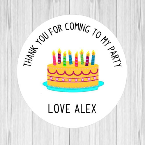 Birthday Cake Thank You For Coming To My Party Stickers