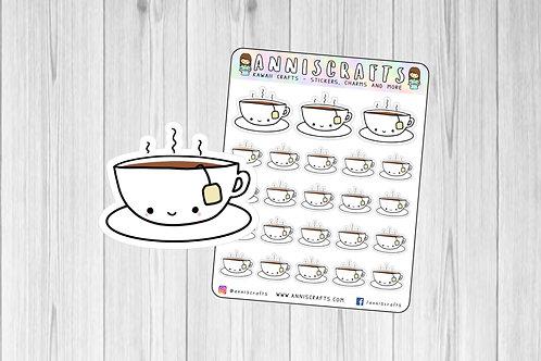 tea stickers, kawaii stickers, kawaii planner, planner stickers, cute stickers, handmade stickers, drawn stickers