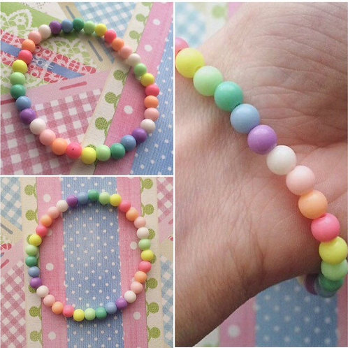 kawaii bracelet, stretchy bracelet, rainbow bracelet, rainbow jewelry, rainbow gift, gift ideas