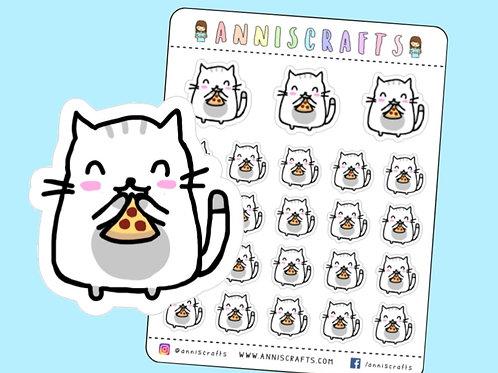 pizza stickers, moochie the cat, moochie cat, cat stickers, cute stickers, planner stickers, kawaii eating stickers
