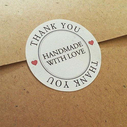 Thank You Handmade With Love Round Matte Stickers Labels Packaging