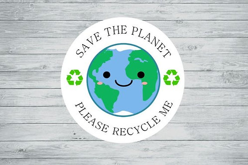 recycle me, save the planet, please recycle me stickers, recycle stickers