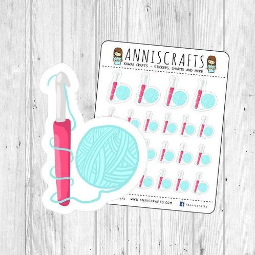crochet planner, planner stickers, crochet stickers, crochet hook stickers, kawaii stickers, kawaii crochet, cute stickers