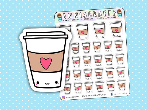coffee stickers, coffee cup stickers, coffee cup, starbucks stickers, starbucks, cute planner stickers, planner addict