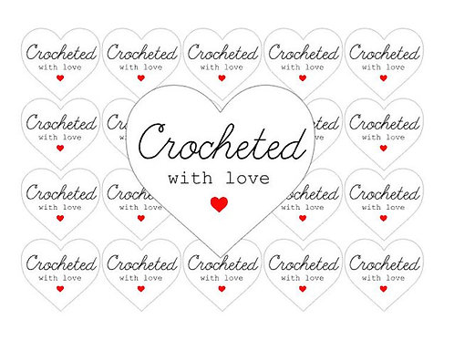 crochet, crochet stickers, crocheted with love, love stickers, handmade stickers