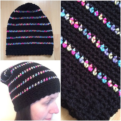 Crochet Rainbow Striped Slouchy Hat Warm Cozy Gift For Her Present Hat Fun Color