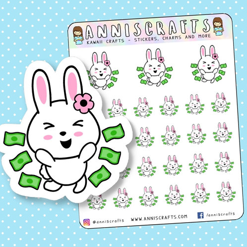 bunny stickers, money stickers, pay day, pay day stickers, functional stickers, kawaii stickers, crafts