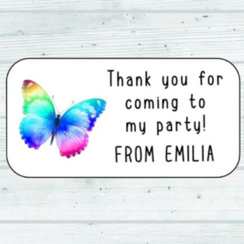 butterfly, party stickers, birthday party, birthday stickers, rainbow stickers, rainbow party, butterfly theme