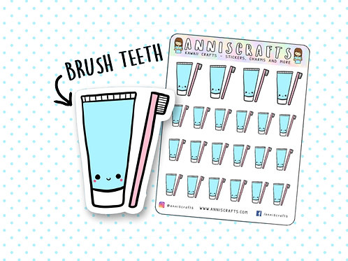 Brush Teeth Reminder Sticker Happy Planner Toothbrush Toothpaste Planner Sticker