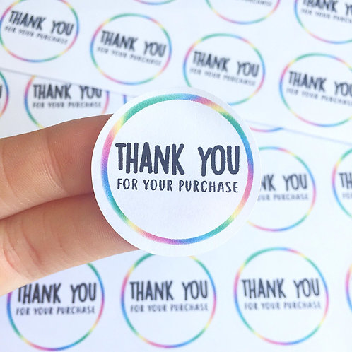 rainbow stickers, thanks stickers, business labels, business stickers, packaging stickers, etsy stickers, thank you stickers