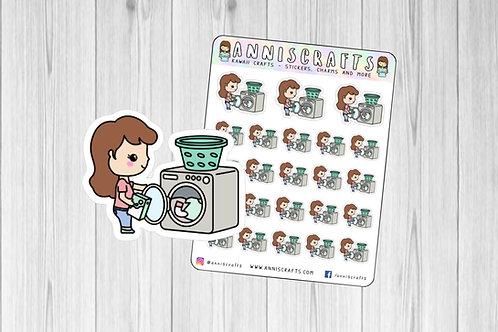 Ellie Doing Laundry Stickers, Laundry Washing Sticker, Happy Planner Stickers