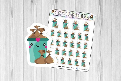 Empty Bin Trash Planner Stickers Happy Planner Take Bin Out Bin Chores Stickers