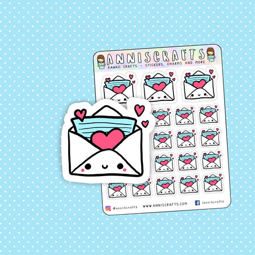 kawaii stickers, planner stickers, love letter, love envelope, envelope stickers, mail stickers