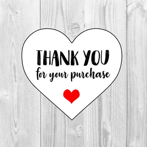 thank you for your purchase, thank you stickers, thanks stickers, purchase stickers, cute stickers, heart stickers