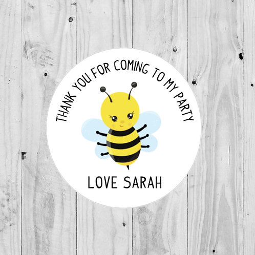 bee stickers, goodie bag stickers, birthday party stickers, birthday stickers, party bag stickers