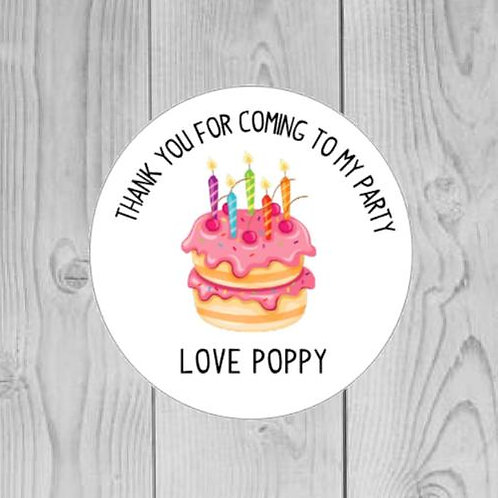 doughnut cake party, birthday party stickers, custom party stickers, doughnut stickers, thank you for coming to my party